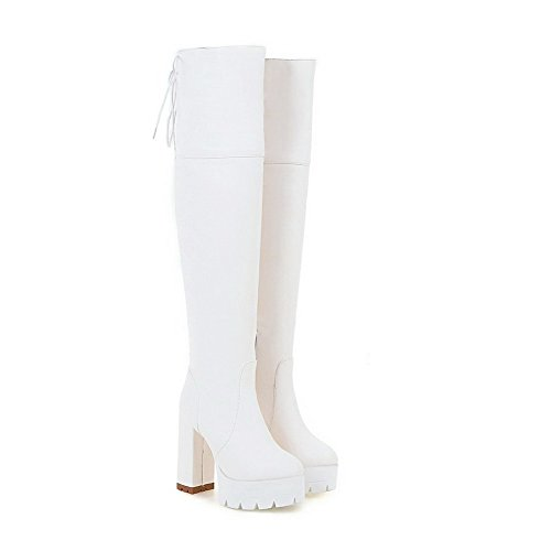 Allhqfashion Boots Women's Closed High Solid up High Lace Toe Round Heels White top qqr6nxP