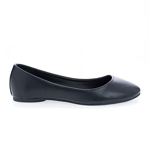 Round Toe Flat Women Shoes (Soda Comfortable Basic Shoes Women Ballet Flat Round Toe Gel Insole KREME Black PU 10)