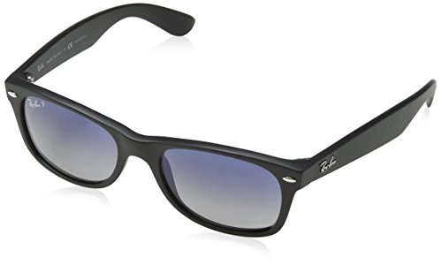 Ray-Ban RB2132 New Wayfarer Sunglasses,52 mm, Matte Black Frame/Blue-Grey Polarized Lens