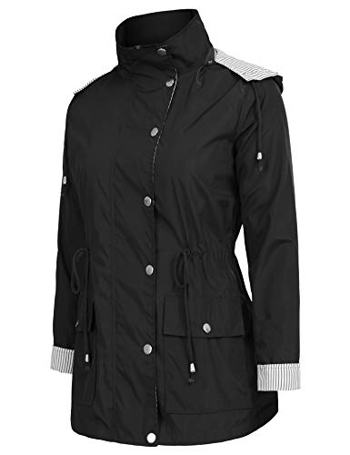 Twinklady Rain Jacket Women Windbreaker Striped Climbing Raincoats Waterproof Lightweight Outdoor Hooded Trench Coats