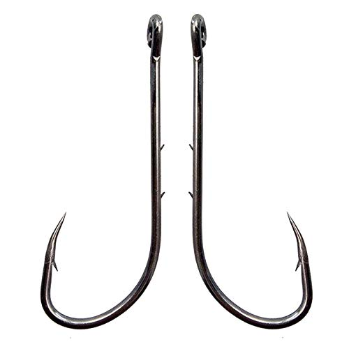 Baitholder Fishing Hooks Long Shank Beak Baitholder Hooks 100Pcs Black Offset Bait Holder Jig Fishing Hooks with 2 Baitholder Barbs Size:4-6//0