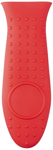 AmazonBasics Silicone Hot Skillet Handle Cover Holder, Red ()