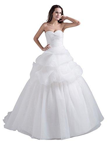 VogueZone009 Womens Sleeveless Pongee Satin Sweetheart Wedding Dress, ColorCards, 16 by VogueZone009
