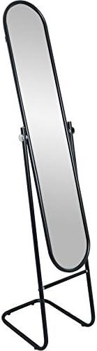 Harbour Housewares Floor Standing Full Length Dressing Mirror - Cheval Style Metal Framed Tilting Bedroom Furniture - Black - 153cm