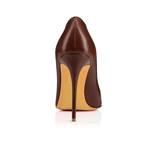 uBeauty Damen Slip On Stilettos High Heels Pumps Geschlossene Spitze Zehen Übergröße Klassischer Schuhe Braun A