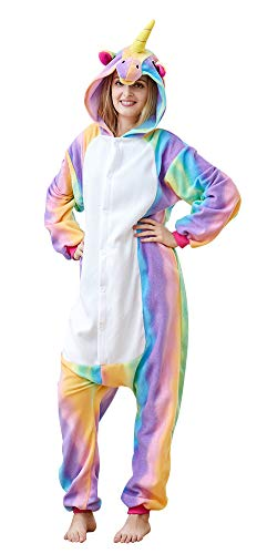 Unicorn Anime Pajamas Onesie,Soft Fleece Cosplay Costume Sleeping Wear for Adult Women Men S