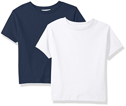 Infant T-shirt Ash - Clementine Unisex Baby Boy Everyday Short Sleeve Toddler T-Shirts Crew 2-Pack, White/Ash Grey 4T