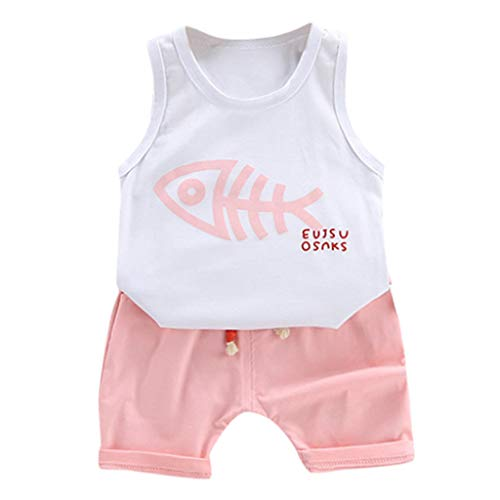 Toddler Baby Boy Clothes Baby Cartoon Fish Print Summer Cotton Sveless Outfits Set Tops + Short Pants 1Y-5Y Pink]()