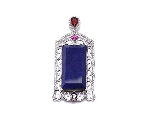 (JYX Rare 30x55mm Rectangular Lapis Lazuli Pendant with Sterling Silver Holder Dotted with Zircons Necklace)