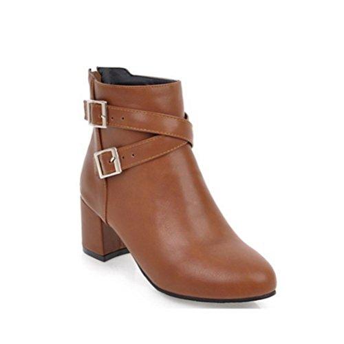 QPYC Zapatos de tacón alto - Martin Boots - Viento universitario - Botas cortas - Código de cremallera trasera 31-45 brown