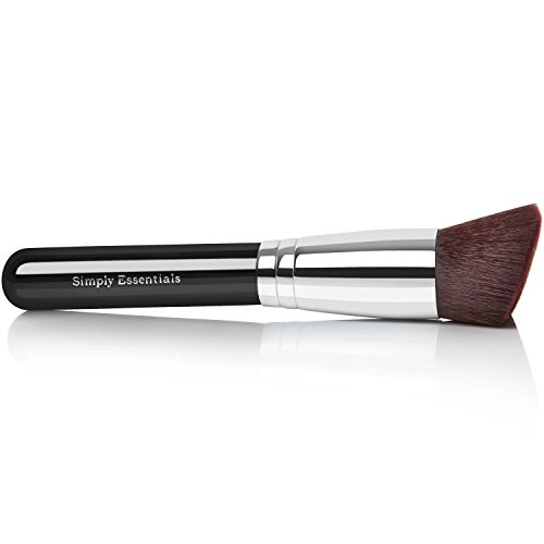 BEST KABUKI PROFESSIONAL MAKEUP BRUSH With Big Angled Top - For Liquid, Cream Mineral, & Powder Foundation & Face Cosmetics, Best Quality Design, Carrying Case & E-Book Included