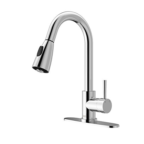 VIGO VG02005CH Weston 16 Inch Single Handle Pulldown Arc Brass Kitchen Sink Faucet with Deck Plate, Single Hole Install, 360 Swivel Spout, Premium Seven Layer Plated Chrome Finish
