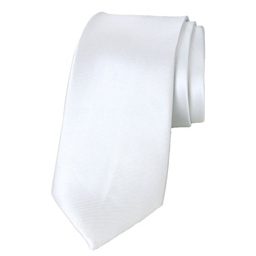 - Spring Notion Men's Solid Color Satin Microfiber Tie, Skinny White