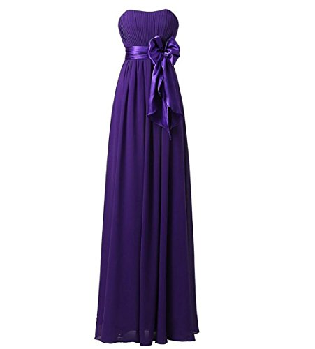 GlorySunshine Strapless Chiffon Bridesmaid Dresses Prom Dresses Long Evening Gowns Purple X-Large
