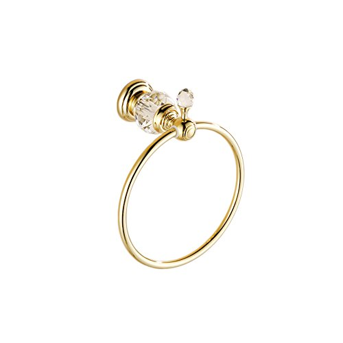 OWOFAN Towel Ring Towel Holder Bath Shelf Hanger Storage Wall Mount Bathroom Accessories Crystal Deco Brass Gold HK-23K