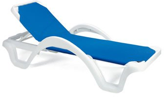 Case of 14 Grosfillex Catalina Stacking Adjustable Resin Sling Chaise - White Frame, Blue - Chair Catalina Adjustable
