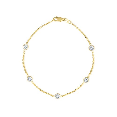 14k Yellow Gold Cubic Zirconia Cable Anklet, Round 4mm CZ, 8 inch