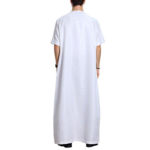 Szpanda Occasionnels Robes Traditionnelles Des Partis Nationaux Musulmans Robe Longueur Islamic Costume Complet De Abaya Pour Hommes Usage Quotidien Blanc (manches Courtes)