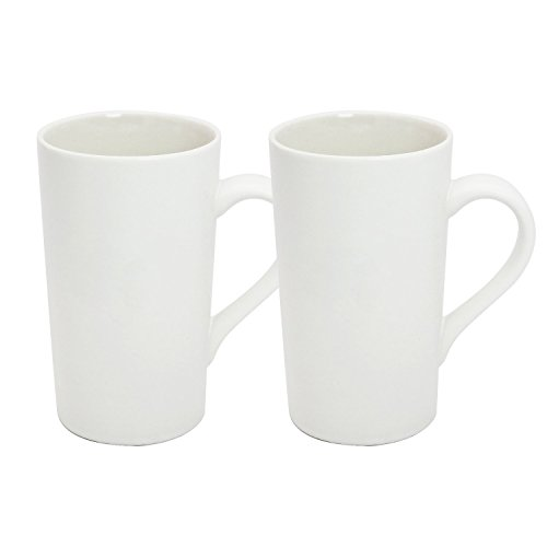 (YINUOWEI Simple Pure White Large Ceramic Coffee Milk Cup Porcelain Mugs, 16oz, Set of 2)