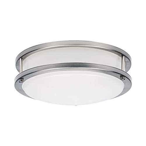 (OSTWIN 12-inch Small Size LED Ceiling Light Fixture Flush Mount, Dimmable, Round 20Watt(120W Repl) 5000K Daylight, 1400Lm, Brushed Nickel Finish with Acrylic Shade, ETL and Energy Star Listed)