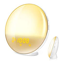 Wake Up Light, HoMii Alarm Clock Compatible with Alexa and Google Home, 7 Colored Sunrise Simulation and Sunset Fading Night Light, FM Radio, 4 Alarm 12 Times Snooze Function,USB Charge Port (White)