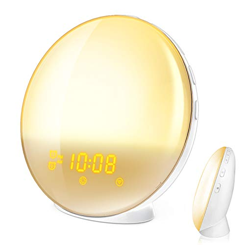 (Wake Up Light, HoMii Alarm Clock Compatible with Alexa and Google Home, 7 Colored Sunrise Simulation and Sunset Fading Night Light, FM Radio, 4 Alarm 12 Times Snooze Function,USB Charge Port (White))