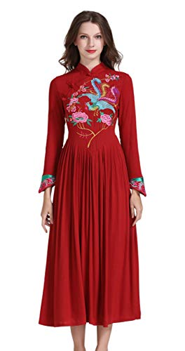 Shineflow Women's Long Sleeve Chinese Traditional Style Phoenix Floral Embroidered Long Dress (S, Red)