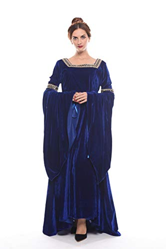 NSPSTT Women Medieval Renaissance Dress Victorian Cosplay Costume Long Sleeve -