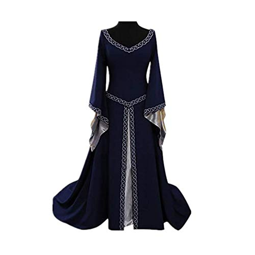 CCOOfhhc Vintage Dress-Women's Renaissance Medieval Dress Trumpet Sleeves Gothic Retro Gown Cosplay Halloween Costume for Women Blue]()
