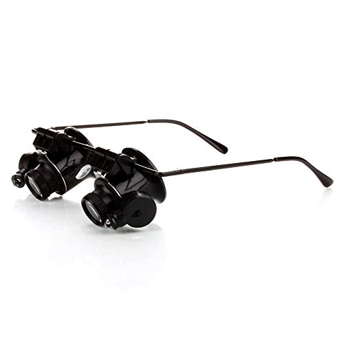 MMOBIEL 20 X Magnifier Magnifying Eye Glasses Loupe Lens Jeweler Watch Repair with Double LED Lights with Cleaning Cloth