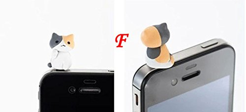 ZOEAST(TM) Little Grey Sweet Home Cat Kitten Kitty Pussy Dust Plug 3.5mm Phone Headphone Jack Earphone Cap Ear Cap Dust Plug Charm iPhone 4S 5 5S SE 6 6S Plus (Kitty Cell)