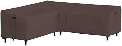 SONGMICS Outdoor Sectional Cover, V-Shaped Sofa Cover, Waterproof Outdoor Furniture Cover, 102 x 35 x 31/23.6 Inches Brown UGSC226R01