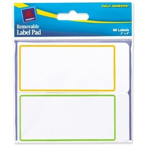 AVE22024-Avery 22024 - Removable Label Pads, 2 x 4, Assorted, 80/Pack