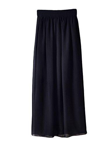Femme Taille Longue Legou Noir Plissé Jupe Haute vNnO0m8w