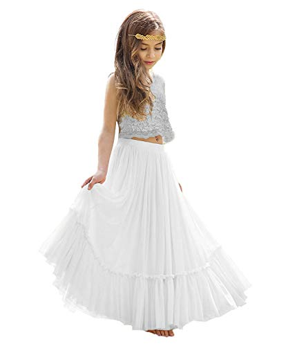 88a1c374428ec KSDN Two Pieces Sequined Exotic Princess Lace Bohemian Wedding Flower Girl  Dress Silver White 2