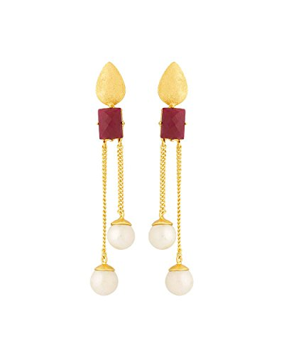Voylla Women's Pink Stone Studded Golden Dangler Earrings by Voylla
