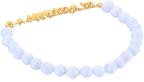 Satya Jewelry Blue Lace Agate Gold Plated Petals Stretch Bracelet