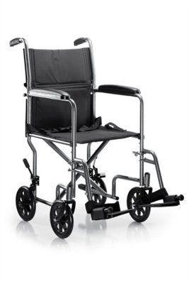 19'' Transport Wheelchair, Silver Vein Frame, Steel, Padded Black Fixed Arms, 8 Inch Wheels