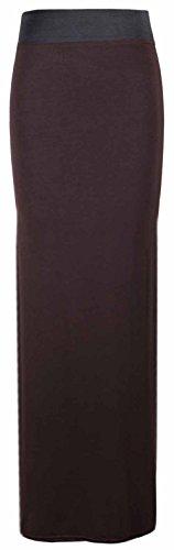 Jupe Brun Femmes Femmes Ceinture Neuf Droit t Long Contraste Taille Uni Fonc lastique Robe Grande UqxwgP