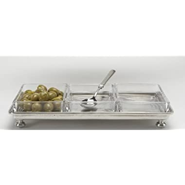 Italian Match Pewter Footed Crudite Tray
