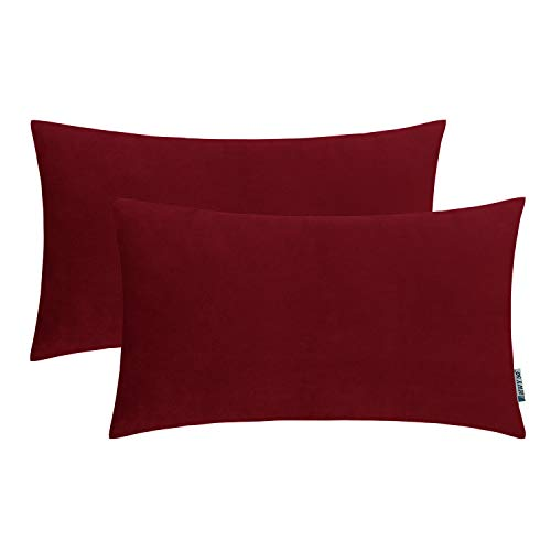 (HWY 50 Velvet Soft Soild Decorative Throw Pillows Covers Set Cushion Cases for Couch Sofa Living Room Rectangular 12 x 20 inch Pack of 2 Burgundy Wine Red)