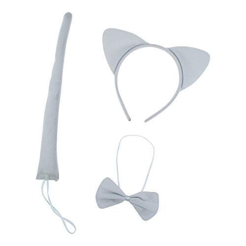 Lux Accessories Plain Grey Cat Ears Tail Bowtie
