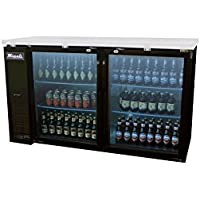 Migali C-BB60G 60 Glass Door Back Bar Refrigerator with 15.8 cu. ft. Capacity 4 Shelves Door Lock Stainless Steel Interior and Top LED Lighting in
