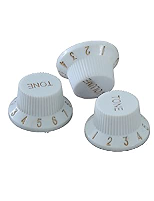 Electric Guitar Control Knobs with 1Volume 2 Tone for 6mm Shaft Pots to Fit Fender Stratocasters Squier Guitar and Other Guitar Strat Design Replacement Pack of 3Pcs.(White) by Sunsmile