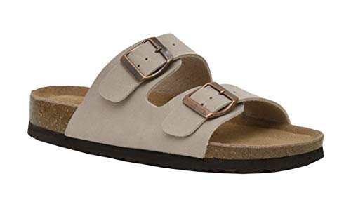 CUSHIONAIRE Women's Lane Cork Footbed Sandal with +Comfort, Stone, 11 ()