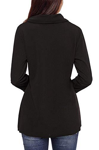 Casual rouge Sweatshirts Noir Zhrui Asymmetric Pullover couleur Daily petite taille 5BfTR1qwUx