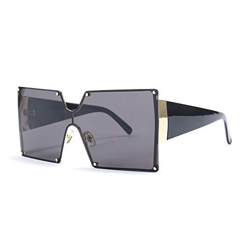 MINCL/Oversized Shield Sunglasses Woman 2019 New Designer Brand Luxury Shades UV400 Vintage Flat Top Square Futuristic Sunglasses (black)