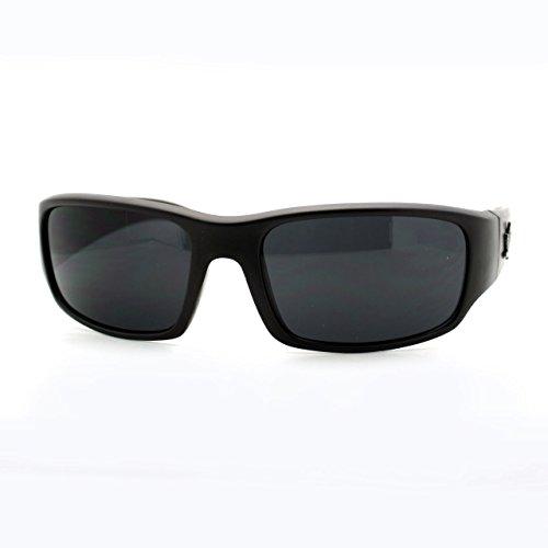 UV-400-Protection-Mens-Sunglasses-Rectangular-Wrap-Marijuana-Leaf-Matte-Black