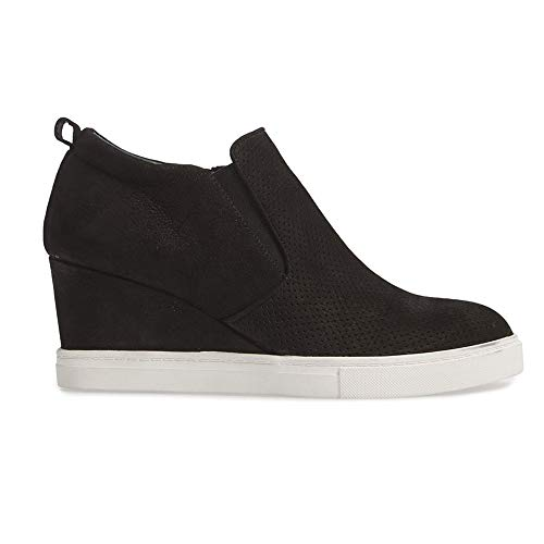 Sneakers Leather Wedge - Womens Wedgie Sneakers Platform High Top Wedge Booties Slip on Heeled Hollow Out Ankle Boots