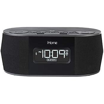iHome Wireless Bluetooth Stereo, Dual FM Alarm Clock Radio, USB Charging,  Alarm Clock For Bedrooms, Alarm Clock, Voice Echo Cancellation, Twin